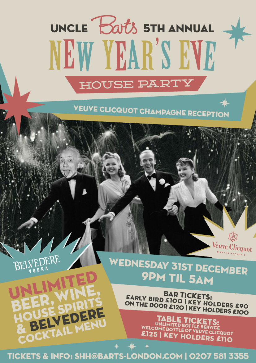 this year on wednesday 31st december uncle barts and his pals invite you to come to celebrate new years eve at their fifth annual house party at barts