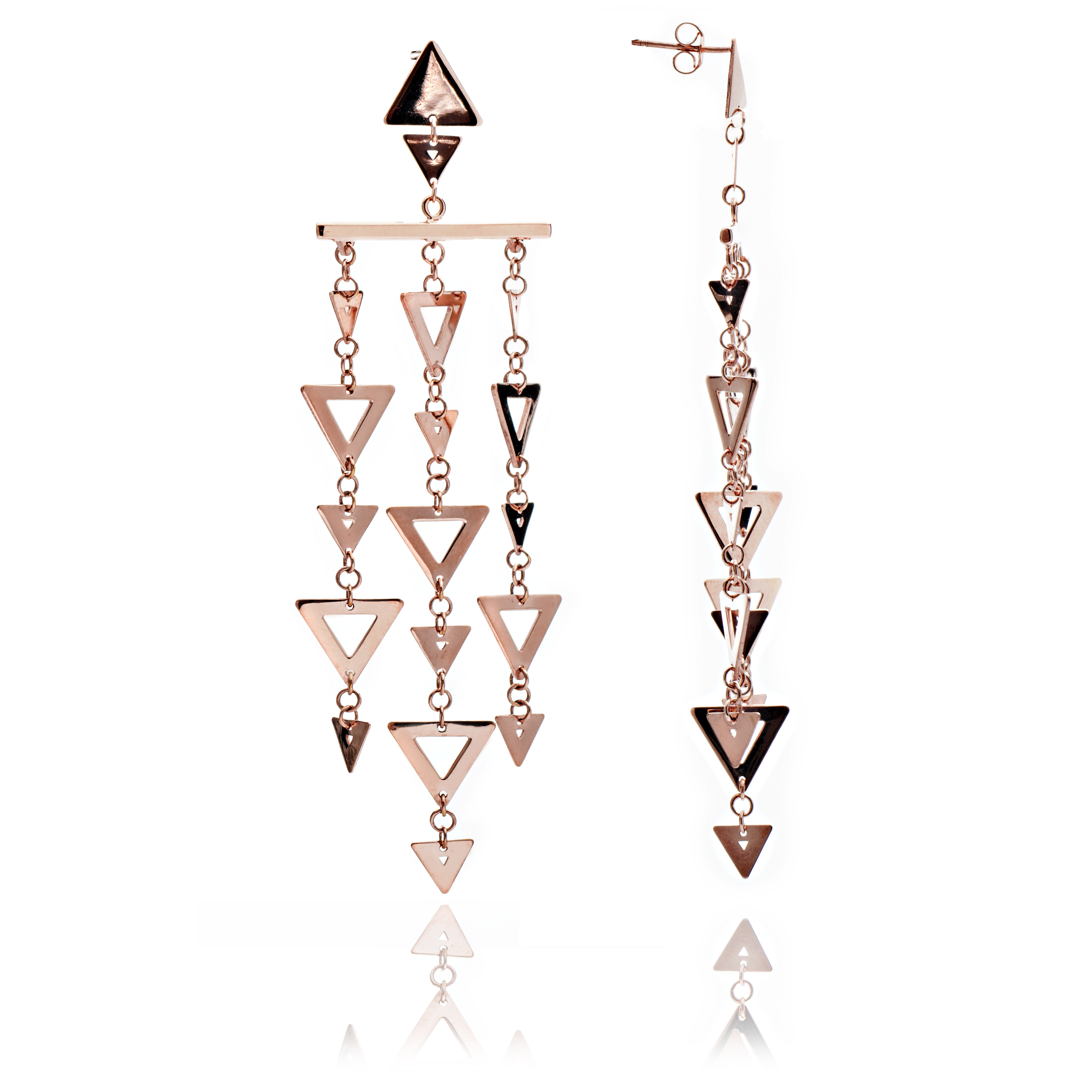 Rose Gold Vermeil Triangle Statement Earrings
