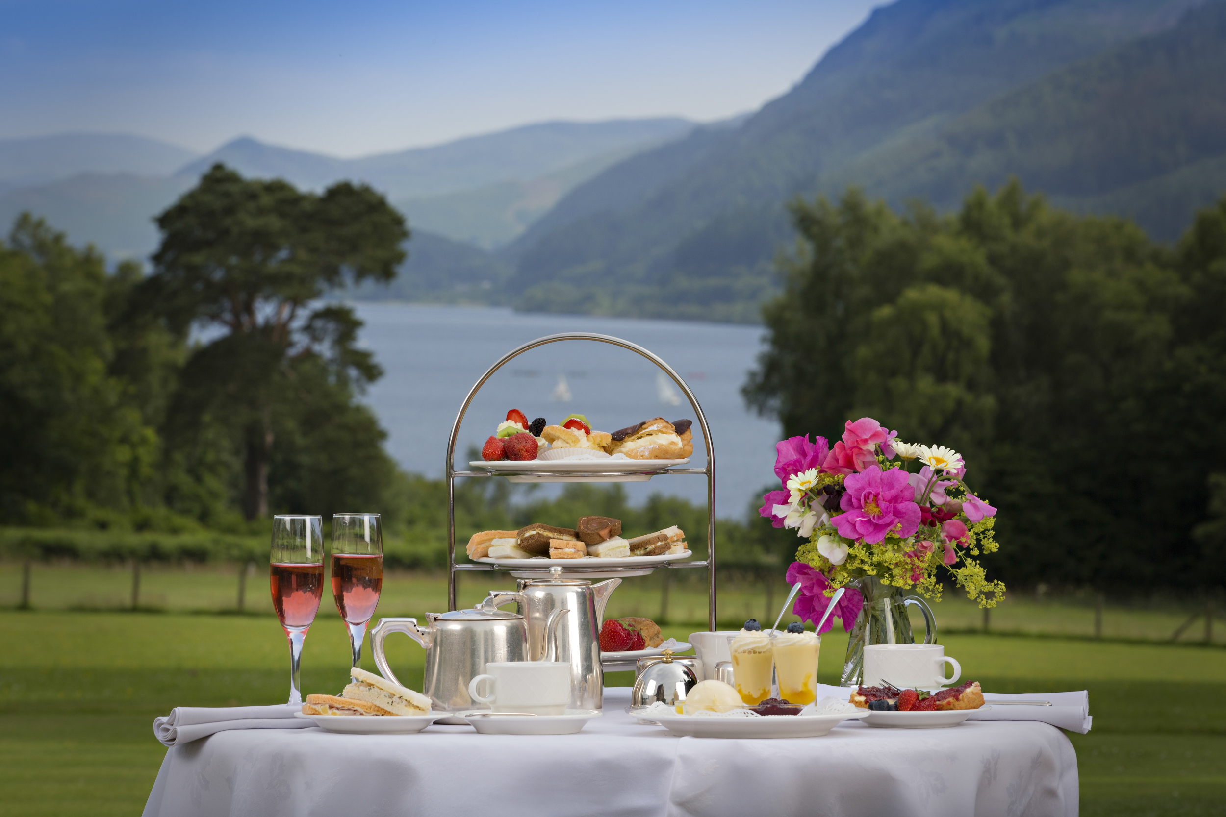 Summer afternoon tea with view