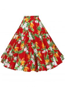 Red Birds of Paradise Circle Skirt - vintage-inspired fashion