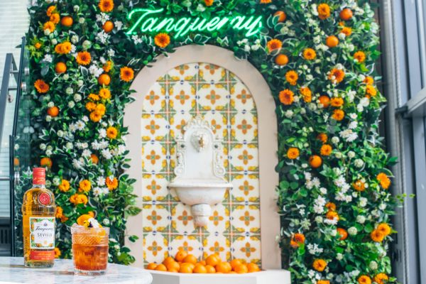 Tanqueray flor de sevilla, gin, cocktail, orange, seville, spain, fountain, negroni,