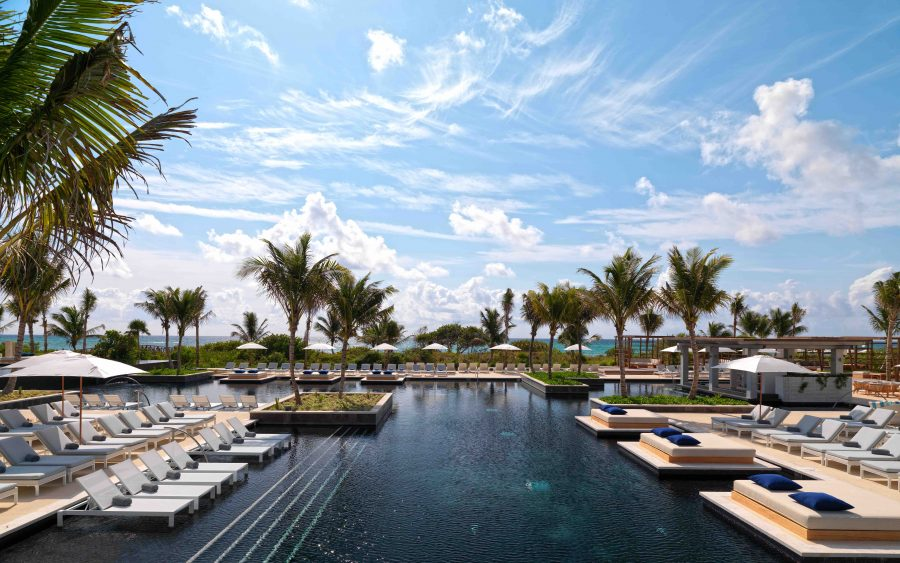 Pool with ocean view at UNICO 20˚87˚ Hotel Riviera Maya