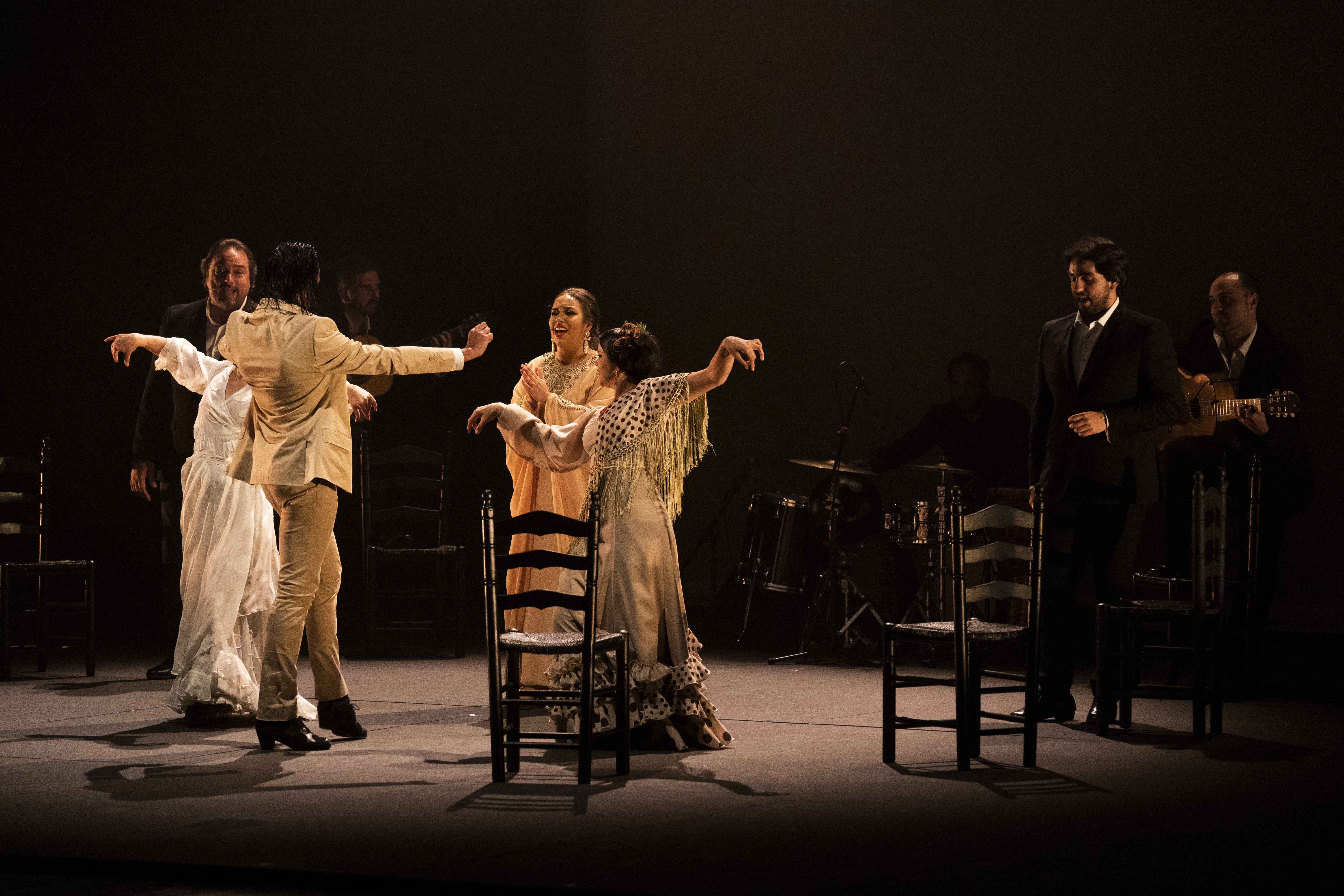 Dancers and musicians perform at the Gala Flamenca show at Sadler Wells