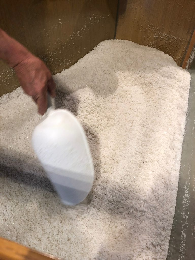 A large tub of Cervia's famous salt to try at Museo Del Sale Di Cervia