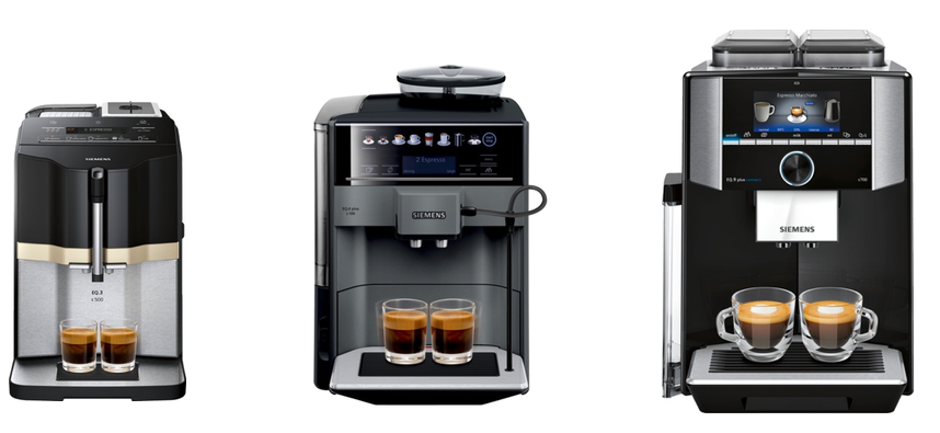 The image shows the three EQ coffee machines mentioned in this article