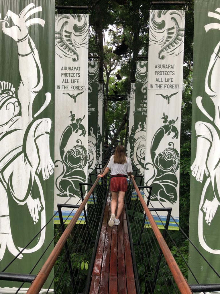 House of Coco's Beth is in the centre of the image walking away from the camera across a wooden bridge, high up in a leafy rainforest. Long green and white flags line the sides of the bridge advertising Hanuman World.