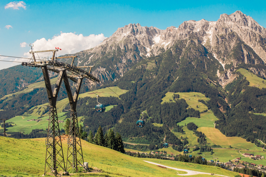 View of Asitz mountains in Saalfelden Leogang, Austria
