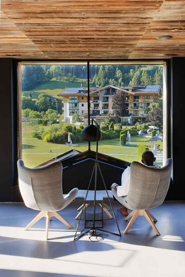 View of Leogang Mountains from WaldSpa at Hotel Forsthofgut Leogang | Naturhotel