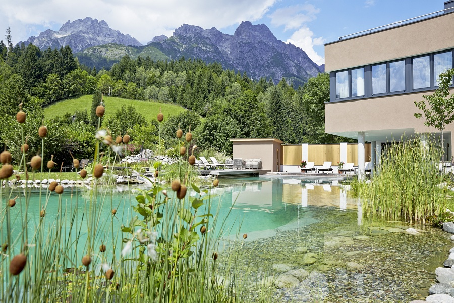 Organic Swimming Pool and View of Leogang Mountains from BioHotel Rupertus, Leogang