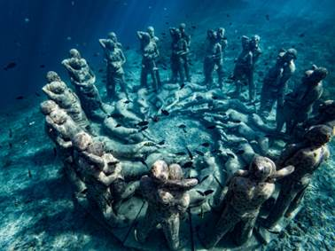 nest by jason decaires taylor, bask gili meno, indonesia.